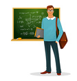 Male teacher with blackboard vector