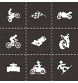 Black racing icons set vector