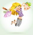 Cute blond girl shopaholic vector