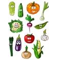 Cheerful cartoon various vegetables characters vector