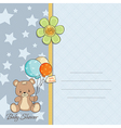 Baby boy shower card with cute teddy bear vector