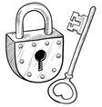 Doodle lock key old vector