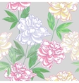 Grey seamless pattern with peonies vector