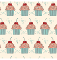 Seamless pattern with decorative cupcakes vector