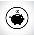 Piggy bank icon with a coin falling in vector