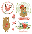 Holiday clip art set of cute animals vector