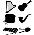 Six silhouettes of musical instruments vector