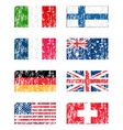 Grunge flags set vector