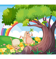 Two wild animals near the tree with flowers vector