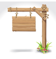 Wood sign board hanging with rope vector
