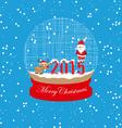New year and christmas santa claus and deer globe vector