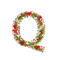 Christmas floral tree letter q vector
