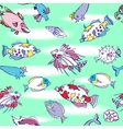 Seamless pattern with color fishes and water vector