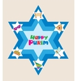Happy purim david star with objects of jewish vector