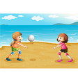 Girls playing volleyball at the beach vector