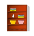 Linen cupboard wardrobe with clothes vector
