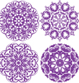 Set of 4 one color round ornaments lace floral pat vector