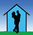 Couple in front of the house vector