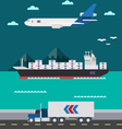 Flat design of cargo transportation sea air land vector