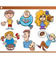 Kids and sweets set cartoon vector