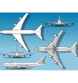 White plane in five positions vector