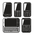 Modern mobile phone set with qwerty keyboard vector