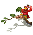 A red bird watching the nest vector