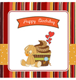Birthday greeting card with cupcake and puppy toy vector