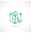 Dollar cube grunge icon vector