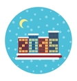 Winter city landscape with buildings christmas vector