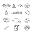 Racing icons in a drawing style vector