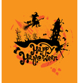 Halloween night sillouette of witch and cat flying vector