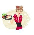 Beautiful asian girl enjoy sushi vector