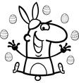 Man as easter bunny cartoon for coloring vector