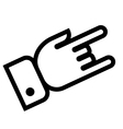 Hand showing rock outline icon vector