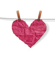 Heart crumpled ragged vector