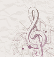 Hand drawn treble clef and notes vector