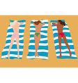 Three girls sunbathing vector
