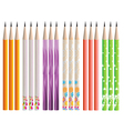 Pencils painted in different colors on white vector