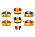 Cartoon golden crowns with jewels and velvet vector