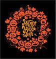 Halloween card - orange silhouette of pumpkins vector