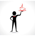 Man holding a coffee mug icon vector