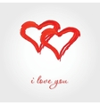 Valentines background with two red hearts vector