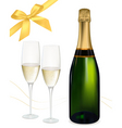 Champagne with glasses and bows vector