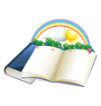 A storybook with a rainbow and plants vector