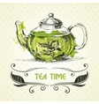 Teapot green tea vector