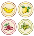 Set of vintage labels with fruits vector