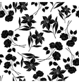 Seamless floral background black silhouettes vector