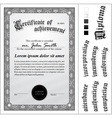 Black and white certificate template vertical vector