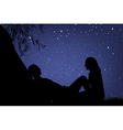 Lovers under night sky vector
